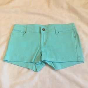 Delia's aqua denim Taylor shorts, 7/8